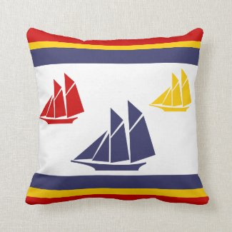 navy blue, yellow, and red sailboat white  PILLOW