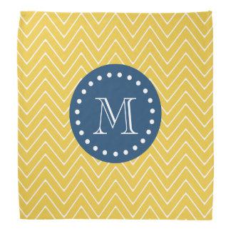 Navy Blue, Yellow Chevron Pattern | Your Monogram Bandana