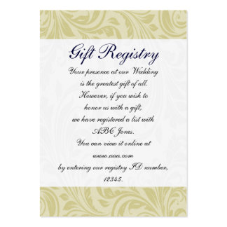 navy blue & yellow damask Gift registry  Cards Business Card Templates