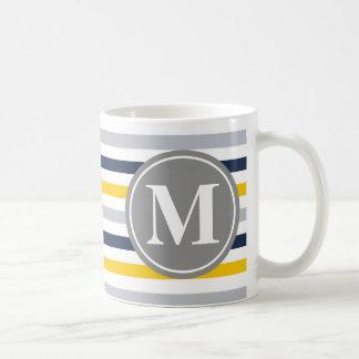 Navy Blue Yellow Striped Pattern Monogram Basic White Mug