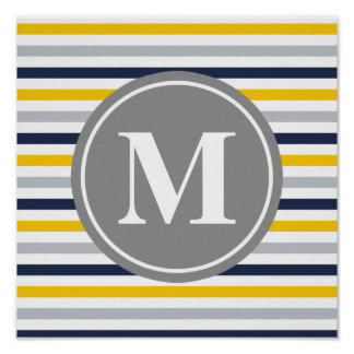Navy Blue Yellow Striped Pattern Monogram Posters