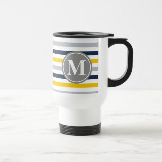 Navy Blue Yellow Striped Pattern Monogram Stainless Steel Travel Mug