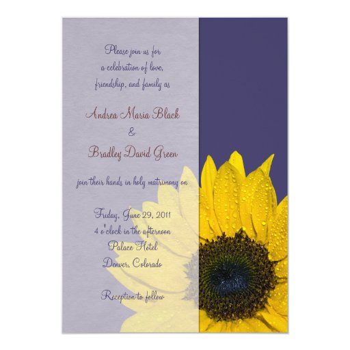 Navy Blue Yellow Sunflower Wedding Invitation