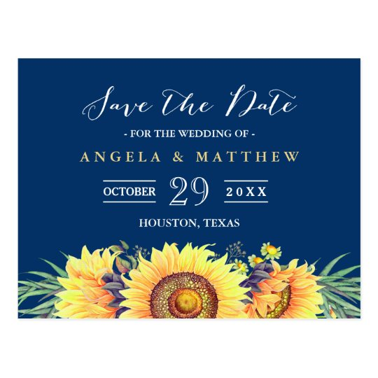Navy Blue Yellow Sunflowers Wedding Save the Date
