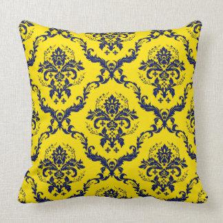 Navy Blue & Yellow Vintage Floral Damasks Cushion