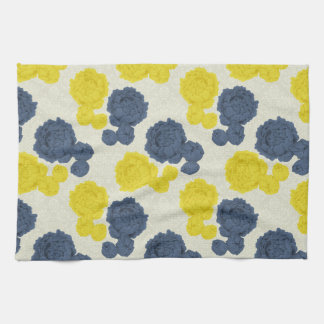 Navy Blue & Yellow Vintage Floral Kitchen Towel