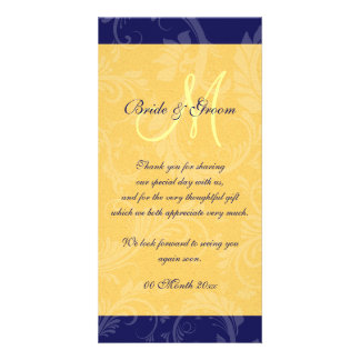 "Navy blue yellow wedding ""thank you"" photo greeting card"