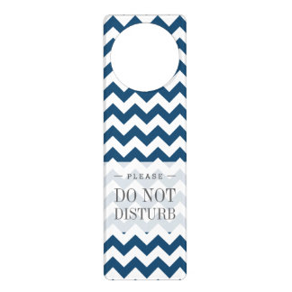 Navy Blue Zigzag Stripes Chevron Pattern Door Knob Hanger
