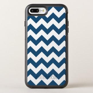 Navy Blue Zigzag Stripes Chevron Pattern OtterBox Symmetry iPhone 7 Plus Case