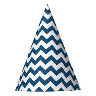 Navy Blue Zigzag Stripes Chevron Pattern Party Hat
