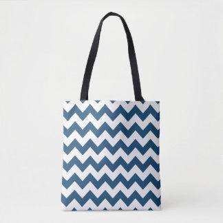 Navy Blue Zigzag Stripes Chevron Pattern Tote Bag