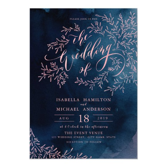 Navy blush calligraphy rustic floral wedding card