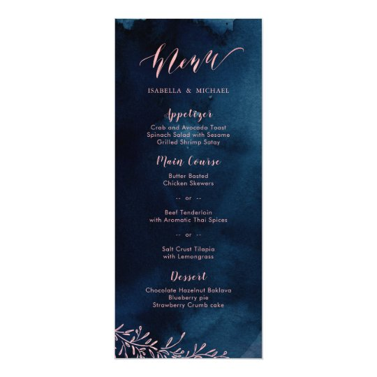 Navy blush calligraphy rustic floral wedding menu card