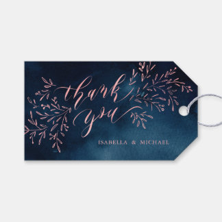 Navy blush calligraphy thank you rustic floral gift tags