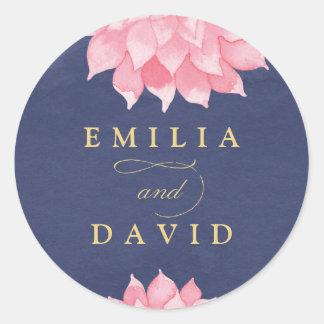 Navy Blush Floral Dahlia Wedding Round Sticker