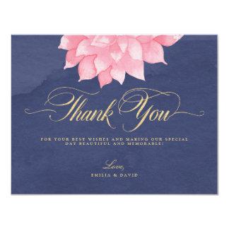Navy Blush Floral Dahlia Wedding Thank You Card