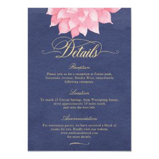 Navy Blush Gold Floral Dahlia Wedding Details Card