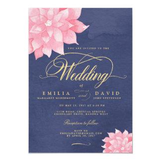 Navy Blush Gold Floral Dahlia Wedding Invitation