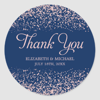 Navy Blush Pink Faux Glitter Wedding Thank You Classic Round Sticker