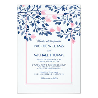 Navy Blush Pink Floral Leaves Watercolor Wedding Card