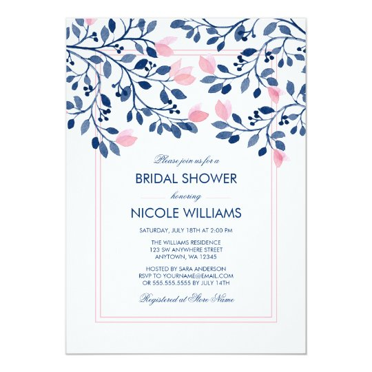 Navy Blush Pink Floral Watercolor Bridal Shower Card