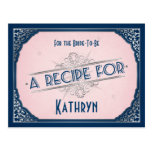 Navy Blush Pink Vintage Recipe Card for the Bride Post Card