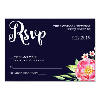 Navy Blush RSVP Card