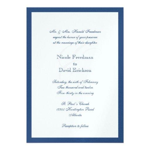 Navy Border Shimmer Traditional Monogram Wedding 5x7 Paper