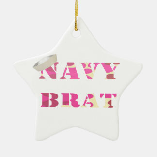 Navy Brat Birth Announcement/ 1st Christmas Orname Ceramic Star Decoration