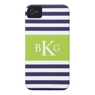 Navy Bright Green Stripes Monogram iPhone 4 Case-Mate Cases