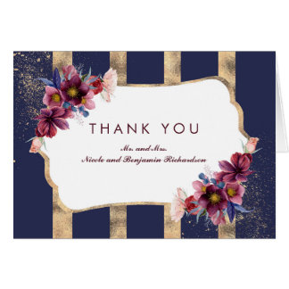Navy Burgundy and Gold Floral Stripes Thank You Card