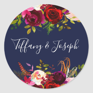 Navy Burgundy Floral Engagement Party Wedding Classic Round Sticker