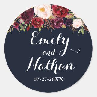 Navy Burgundy Floral Fall Wedding Sticker