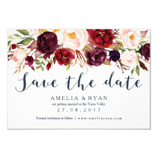 Navy Burgundy Floral Save the Date Card