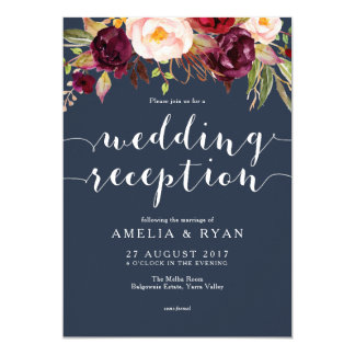 Navy Burgundy Floral Wedding Reception Invitation