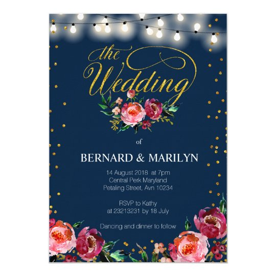 Navy Burgundy Marsala Floral Autumn Wedding Card