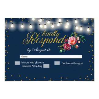 Navy Burgundy Marsala Floral Wedding RSVP Card