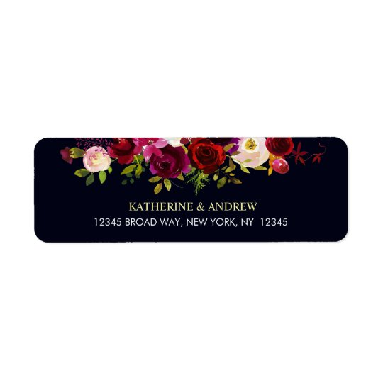 Navy Burgundy Marsala Rustic Boho Floral Address