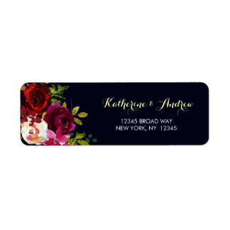 Navy Burgundy Marsala Watercolor Floral Address