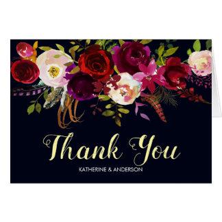 Navy Burgundy Marsala Wedding Thank You Card