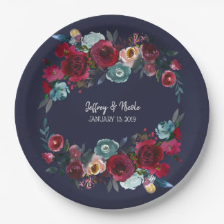 Navy Burgundy Merlot Floral Wedding Dinner Paper Plate