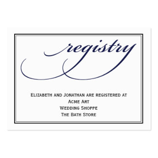 Navy Calligraphy Wedding Registry Information Card Pack Of Chubby Business Cards