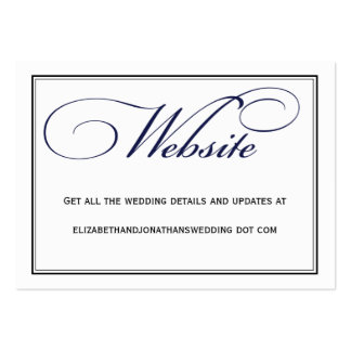 Navy Calligraphy Wedding Website Information Card Pack Of Chubby Business Cards