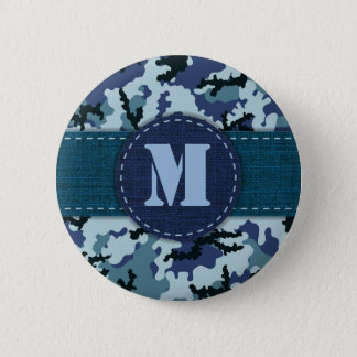 Navy camouflage 6 cm round badge