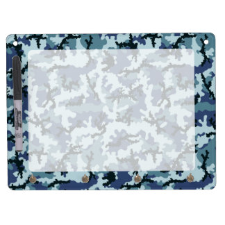 Navy camouflage dry erase board with key ring holder