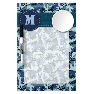 Navy camouflage dry erase board with mirror