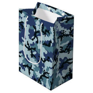Navy camouflage medium gift bag