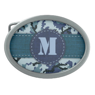 Navy camouflage oval belt buckle