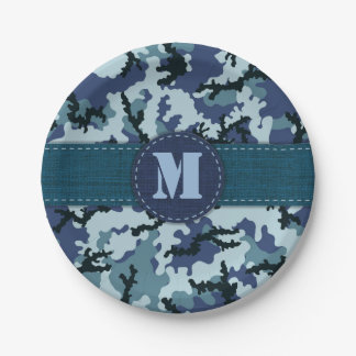 Navy camouflage paper plate