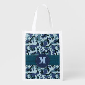 Navy camouflage reusable grocery bag